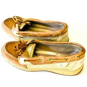 SPERRY TOPSIDER GOLD GLITTER EDITION LOAFERS